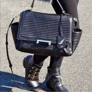 DVF Large Black Quilted 440 Courier Satchel Bag